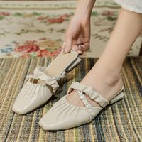 Sandals And Slippers For Women's Outer Wear 2021 Summer French Low-heeled Small Fragrance Lazy Baotou Beaded