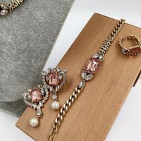 Ladies Fashion Jewelry suit inlaid pearl chain necklace bracelet heart-shaped Pendant Earring opening ring