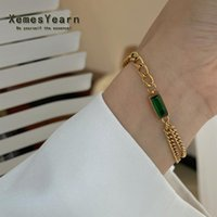 Charm Bracelets European And American Design Stainless Steel Chain Green Crystal Girl Korean Fashion Jewelry Set Accessories For Woman