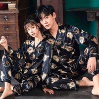 Definir par de pijamas seda cetim despojado nightgown home pak para amante homem mulher lover's roupas m-3xl