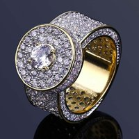 Mens Hip Hop Gold Rings Jewelry New Fashion Iced Out Rings Crystal Gemstone Simulation Diamond Rings For Men
