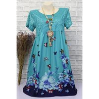 Casual Dresses Baharcelin Big Size 5XL Butterfly Printed Dress Girl Women Vintage Short Sleeve Lace Embroidery Vestidos