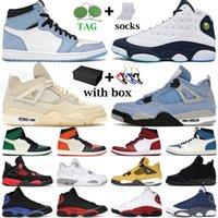 basketball shoes University Blue 1s chaussures de basket-ball pour hommes 1 Shadow 2.0 Hyper Royal 4s blanc Oreo Black Cat femmes formateurs baskets de sport avec boîte