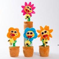 Dance Sunflowers carino incantevole peluche peluche giocattoli musicali fatti a mano luminescenza incantesimi elettrici fiori romanzo stile DHB7813