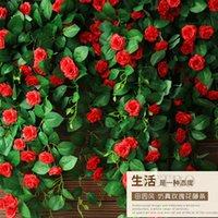 Роскошные декоративные цветы венки, смоделированные розовые кондиционер трубы обмотки балкона свадьба корзина стул украшения цветок ротанга