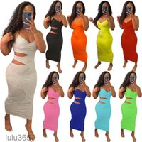 2021 Women Dress Designer Slim Sexy Sling Sleeveless Casual Midi Dress Hollow Out Split Layer Suspender Solid Color Dresses Skirt 9 Colours lulu365