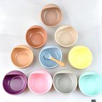 Baby Silikon Fütterung Geschirr Holzlöffel Saugschale Baby Platte Kinder Kleinkind-Assistens Set BPA Free Hohe Qualität Silikon 1175 Y2