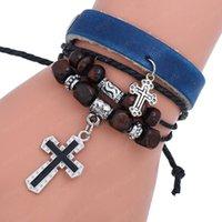 Multilayer Wrap Jesus Cross Charm Armband Houten Kralen String Verstelbare Lederen Armbanden Bangle Cuff voor Dames Mannen Mode-sieraden
