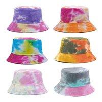 الملونة التعادل مصبوغ الصياد قبعة أزياء أطفال الأطفال مزدوجة من جانب دلو القبعات الربيع الصيف قبعة الشمس في الصياد في الهواء الطلق كاب G77unoo