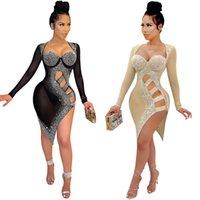 Fashion sexy empire strapless women Sequins dress 2021 Women's rhinestone design Dresses beautiful Nightclub Party tight Net yarn shirts Hollow woman clothes
