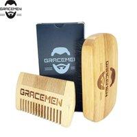 MOQ 100 Set OEM Personalizza Logo Eco-friendly Bamboo Facial Hail / Beard Kit Grooming con scatola personalizzata per la spazzola uomo Pannello dual lati
