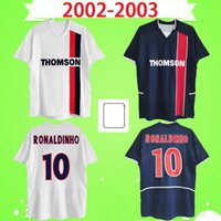 psg forması # 10 Ronaldinho Chulapa 2002 2003 Retro futbol Formaları 02 03 klasik paris anma Vintage futbol forması 02 03 Maillot Fransız Ligue1