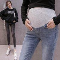 Pantalones de mujer Pantalones de embarazo Color sólido de las mujeres Pantalones vaqueros Pantalones Cómodo Ajustable Maternidad para Ropa Mujeres Mujer