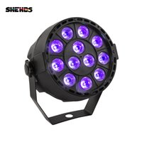 SHEHDS LED Stage Light Effect 12x3W Ultraviolet Color Flat Par DMX512 DJ Disco Lamp KTV Bar Party Backlight Beam Projector Spotlight