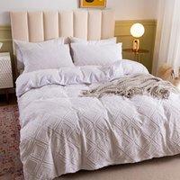 기하학적 침구 세트 홈 침대에 대 한 유로 이불 커버 2 명이 두 번 이중주자 격자 무늬 화이트 퀸 킹 베갯잇 섬유 섬유 침실 세트