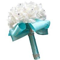 Flores de casamento 2021 Handmade tiffany azul nupcial nupcial buquê de flores de flor artificial rosa ribbon cristal buquês de noiva beau