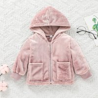 Baby Velvet Plain Zipper Coats with Hood Fall Winter Children Boutique Clothing 0-2T Infant Toddlers Girls Long Sleeves Warm Outerwear