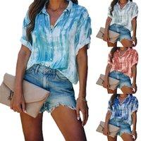 Womens Shirts 4 Solid Color Lapel Fashion Women Blouses Female Short Sleeve Tops Casual Top Plus Size S-XXXL