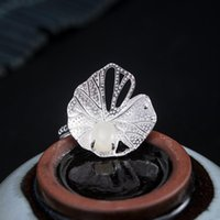 Cluster Rings 925 Sterling Silver Fashion Lotus Leaf Ring Women's Personality National Style Nephrite Dew Design Jewelry Customization
