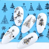 1 Sheet Lace Design Water Nail Art Stickers Christmas Sticker Tree Snowman Star Deer Sliders for Nails Transfer Decals Manicure DIY Winter Decorations