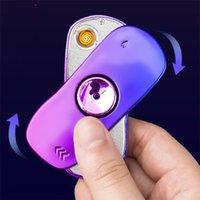 Metal lighter gyro finger-tip gyroscope lighter decompression multifunctional vibrate sports car USB charging lamp enchanting color