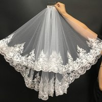 Bridal Veils Women Lace Wedding Veil 2 Layers Tulle Edge Appliqued With Comb White Ivory