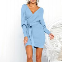 Casual Dresses Women's Fashion Solid Colors Knitted Long Sleeve V-Neck Bandage Belt Mini Dress Sexy Winter Warm Party Sweater Vestidos#g3