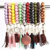 11 Renkler Ahşap Bilezik Anahtarlık Püsküller Ile DIY Ahşap Fiber Pandent Woodwooden Boncuk Bileklik Anahtar Süslemeleri Moda 1651 Q2
