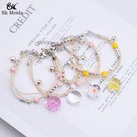 Pulseira Feminina Cam Çiçek Kurutulmuş Bilezik Deri Sakura Bilezikler Renkli Armbanden Voor Vrouwen BN-06 Bağlantı, Zincir