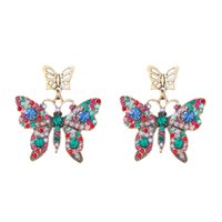 Color diamond Stone Cute Butterfly Stud Earring For Women Wedding Jewelry Vintage Fashion Animal Earrings