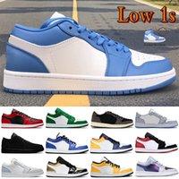 New Low 1 1S Shoes de Basquete Unc Hyper Real Pinho Verde Paris Tie-Tintura Triplo Branco Homens Homens Mens Sneakers Mulheres Trainers US 5.5-11