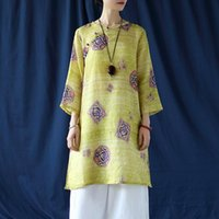 Women's Blouses & Shirts Johnature Women Vintage Ramie Print Floral High Quality V-Neck Seven Sleeve 2021 Autumn Female Casual