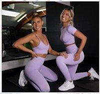2021 المرأة الحلوى اللون مثير تونك اليوغا رياضية رياضية سلس بسط النسيج مبطن سترة قصيرة الأكمام تيز طماق السراويل رياضة دعوى s m l