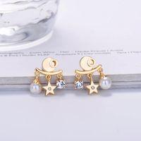 Modedesignerin Ohrstecker für Frauen Gold Diamant baumeln Ohrringe Party Hochzeit Liebhaber Geschenk Engagement Schmuck für Braut mit Kiste