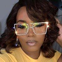 الأزياء الشفافة مربع النظارات الشمسية الإطار المعدني المرأة تفضيل نظارات الرجال النظارات الطالب Nerd عادي الظلال