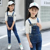 Kids Jeans Jumpsuits Girls 2021 Fashion Autumn Winter Baby Girl Boutique Clothes Teenager Fall Denim Pant Cotton Trousers 12