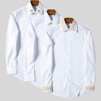 Camicie da uomo Casual Casuals Luxury Fashion Men Dress Camicia Camicia in oro Stampa floreale in cotone Silk Slim Fit Abbigliamento Abbigliamento Tshirt Tshirt Solid Color Ricamo