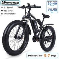 US Shengmilo MX02S 1000W Volwassen Elektrische Mountainbike 17AH 48V Li-ion City Fat Tire Fiets 40km / H E-bike Beach Cruiser