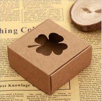 Gift Wrap 20pcs Mini Kraft Paper Box Hollow Handmade Soap DIY Wedding Favor Small Cookie Packaging