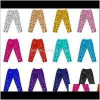 Kids Designer Mermaid Sequins Leggings Kid Pure Cotton Tights Girls Trouser Skinny Pencil Pants Baby Clothes 5U1Pp 5Jl1G
