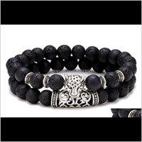 Charm Bracelets Jewelry2Pcs Set Paired Bracelet Men Vintage Wolf Head Braslet For Homme Natural Tiger Eyes Stone Braclet Couple Brazalete Pu