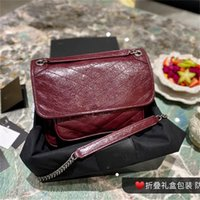 Messenger Bag New Cowhide Commuter Designer Retro Solid Color Intellectual Western Style Female Summer Large-capacity Fold Chain Oil Wax Leather Shoulder Bags