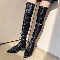 Prova Perfetto 2019 осень осенью зима сексуальная над коленом длинные ботинки ночной клуб секвенированные заостренные носки женские ботинки bling мода s8it #