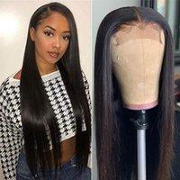 Perruque de cheveux de la dentelle 4x4 strieght Perruque de cheveux humains pour femmes noires 180% densité pré-cueillée 10-26 pouces perruques droites osseuses péruviennes
