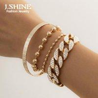 J.shine 4 pcs / set gelado fora strass cordão cadeia pulseiras para mulheres empilháveis cubano Curb Chunky Casal Casal Jóias Charme