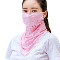 Mascarilla de la cara de la seda de verano de las mujeres Estampado floral Protector solar TRIANTE AJUSTABLE Bufanda de la bufanda de la bufanda de cuello multifuncional