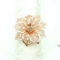 꽃 모양의 냅킨 반지 금속 냅킨 버클 링 호텔 웨딩 파티 테이블 장식 타월 장식 버클 멀티 컬러 DHF8600