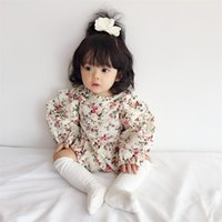 Dulce recién nacido bebé niñas floral volantes de manga larga manga mameluca niños de una pieza algodón tops mono ropa ropa ropa 146 q2