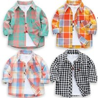 Shirts Spring Autumn Girls Boys Long Sleeve Classic Plaid Lapel Tops With Pocket Baby Cotton Shirt Kids Clothing 21 Colors