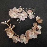 Hair Clips & Barrettes Handmade Baroque Copper Flower Pearls Wedding Accessories Bridal Headband Clip Set Women Jewelry